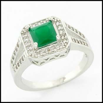 14k White Gold Overlay, 1.40ctw Emerald & White Sapphire Ring Size 8