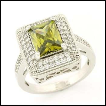 14k White Gold Overlay, 1.60ctw Peridot & White Sapphire Ring Size 7