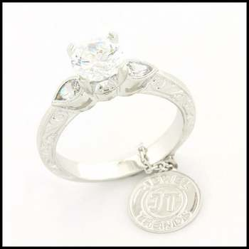 14k White Gold Overlay, 1.76ctw (AAA Grade) CZ's Bridal Engagement Ring Size 6