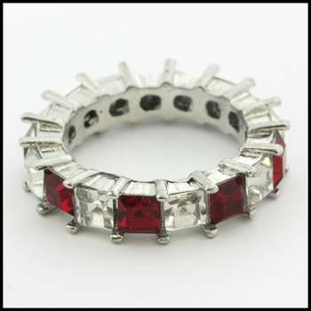 14k White Gold Overlay, 4.25ctw Ruby & White Sapphire Ring Size 7