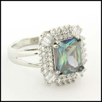 14k White Gold Overlay, 5.10ctw Green Mystics & White Sapphire Ring Size 6