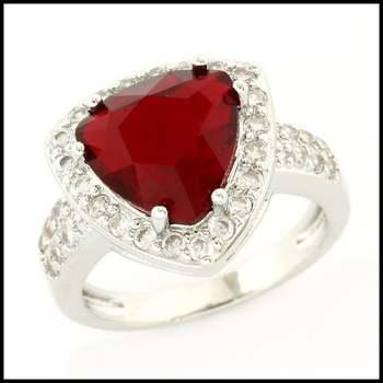 14k White Gold Overlay, 6.05ctw Garnet & White Sapphire Ring Size 8