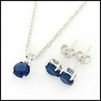 14k White Gold Overlay Blue Sapphire Set of Earrings & Necklace