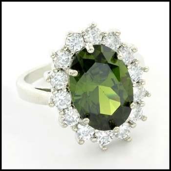 14k White Gold Overlay, Peridot & White Sapphire Ring Size 6.5