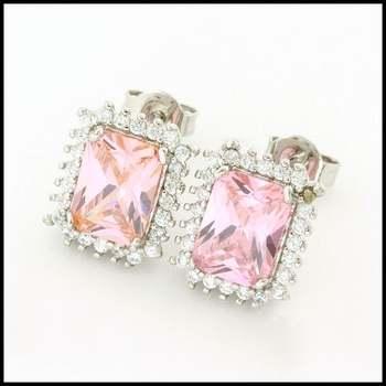 14k White Gold Overlay, Pink & White Sapphire Earrings