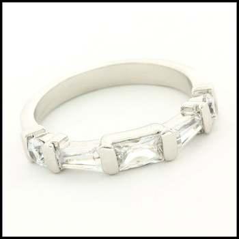 14k White Gold Overlay,  White Sapphire Ring Size 6