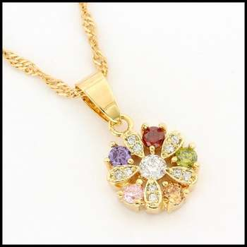 14k Yellow Gold Overlay, 0.55ctw Multicolor Gemstones & 0.31 White Sapphire  Necklace