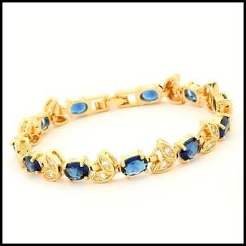 14k Yellow Gold Overlay, 8.36ctw Sapphire & 0.60ctw White Sapphire  Bracelet