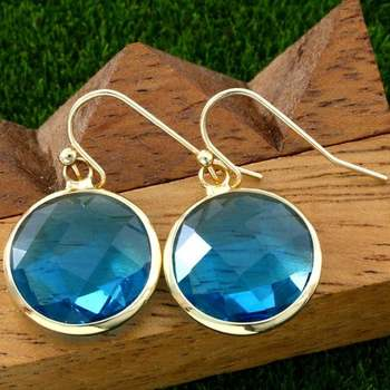 14k Yellow Gold Overlay Beautifully Created Blue Topaz Earrings
