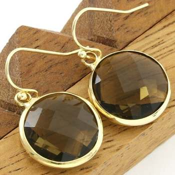 14k Yellow Gold Overlay Beautifully Created Smokey Topaz Earrings