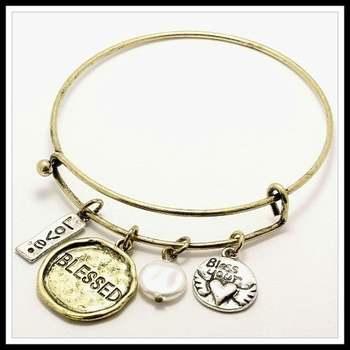 14k Yellow Gold Overlay Blessed Charm Bangle Bracelet
