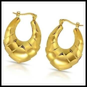 14k Yellow Gold Overlay Hoop Earrings