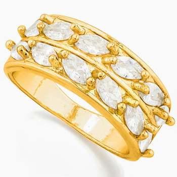 14k Yellow Gold Overlay White Topaz Ring Size 6