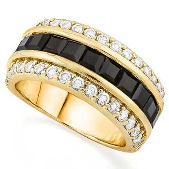 3.00ctw Beautifully Created Fine Black & White Sapphire Ring Size 6