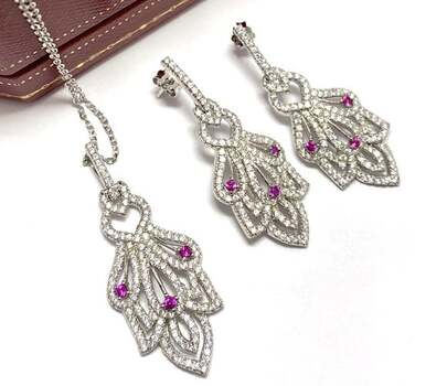 .925 Sterling Silver, 0.20ct Ruby & 3.00ct White Diamonique Set of Necklace & Earrings