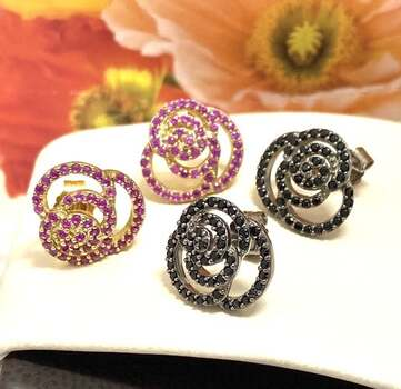 .925 Sterling Silver, 0.50ctw Black Spinel & 0.50ctw Ruby Lot of 2 Pair of Earrings