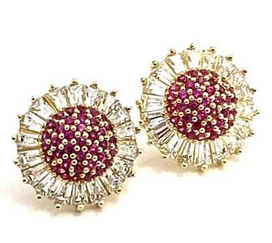 .925 Sterling Silver, 0.50ctw Ruby & 1.0ctw White Diamonique Earrings