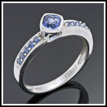 .925 Sterling Silver, 0.57ctw Sapphire Designer Authentic ColoreSG by LORENZO Ring Size 7
