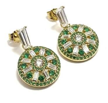 .925 Sterling Silver, 1.0ctw Emerald & 1.10ctw White Diamonique Earrings