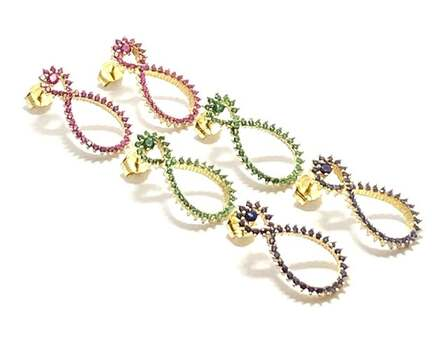 .925 Sterling Silver, 1.0ctw Ruby & 1.0ctw Sapphire & 1.0ctw Emerald Lot of 3 Pair of Earrings