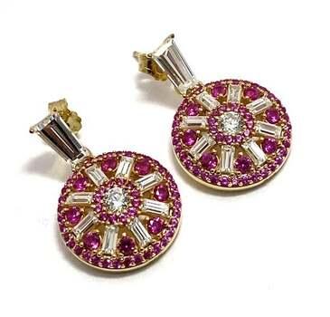 .925 Sterling Silver, 1.0ctw Ruby & 1.10ctw White Diamonique Earrings