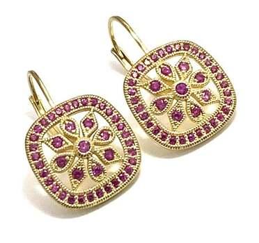 .925 Sterling Silver, 1.0ctw Ruby Earrings