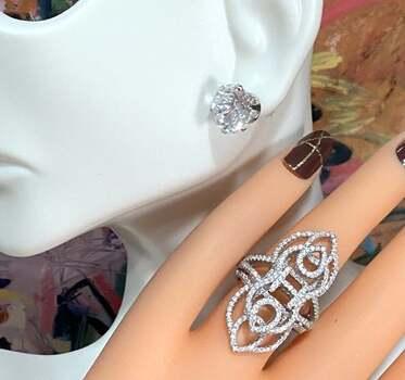 .925 Sterling Silver, 12.00ct White Diamonique Sam & Co. Lot of Ring & Earrings