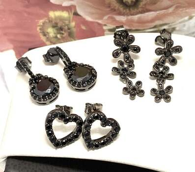 .925 Sterling Silver, 1.25ctw Black Spinel Lot of 3 Pair of Earrings