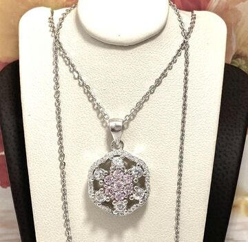 .925 Sterling Silver, 1.30ctw Pink & White Topaz Necklace