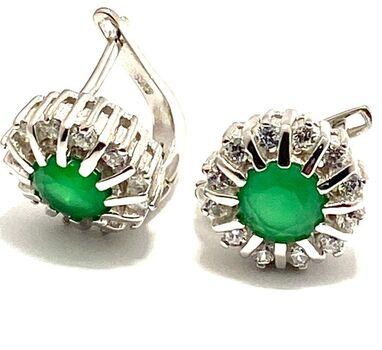 .925 Sterling Silver, 1.41ctw Peridot & White Sapphire Earring