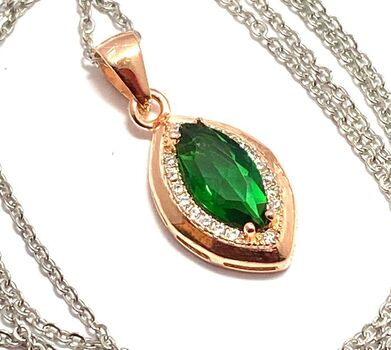 .925 Sterling Silver, 1.50ctw White Sapphire & Emerald Necklace