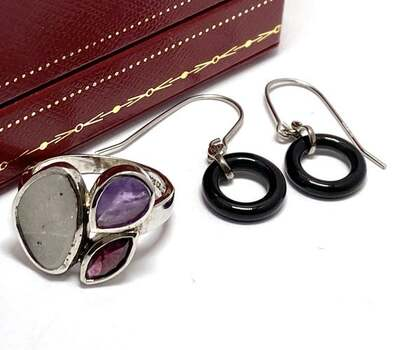 .925 Sterling Silver, 16.50ctw Multi-Color Stone Mia Rose Lot of Earrings & Ring