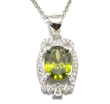 .925 Sterling Silver, 1.70ctw White Sapphire & Peridot Necklace