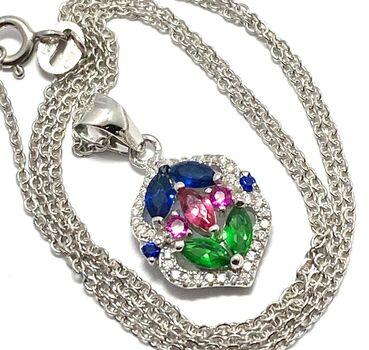.925 Sterling Silver, 1.80ctw Multicolor Stones Necklace