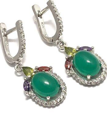 .925 Sterling Silver, 2.06ctw Peridot, Emerald, Amethyst, Ruby &  White Sapphire Earring
