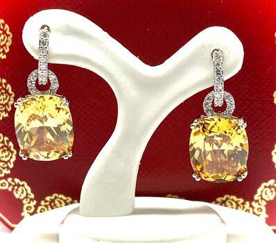 .925 Sterling Silver 21.50ct Golden & White Topaz Earrings