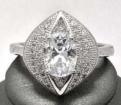 .925 Sterling Silver, 2.25ct White Diamonique Ring Size 7