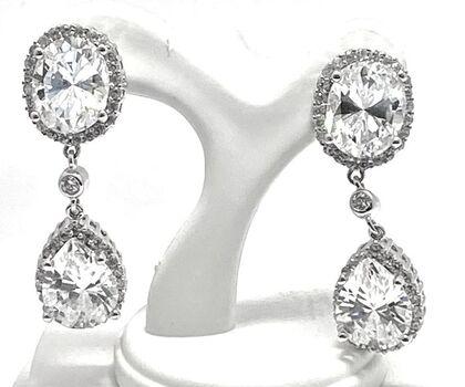 .925 Sterling Silver 27.00ctw Diamonique Earrings