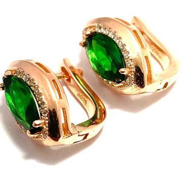 .925 Sterling Silver, 3.00ctw White Sapphire & Emerald Earrings