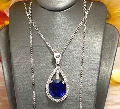 .925 Sterling Silver, 3.0ctw Blue & White Sapphire Necklace