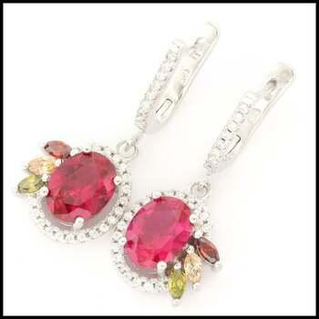 .925 Sterling Silver, 3.28ctw Ruby, 0.04ctw Peridot & 0.04ctw Citrine Earrings