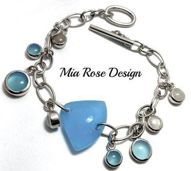 .925 Sterling Silver 38.00ctw Blue & Gray Jasper Mia Rose Design Bracelet