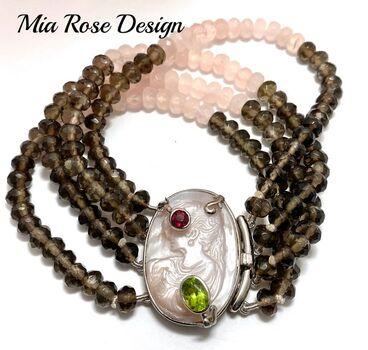 .925 Sterling Silver Clasp Genuine Smokey & Rose Quartz with Genuine Mother of Pearl Cameo Mia Rose Design Bracelet