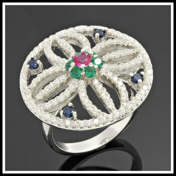 .925 Sterling Silver, Emeralds, Blue & Pink Sapphire Ring   size 8
