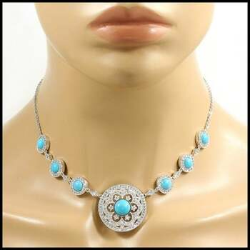 .925 Sterling Silver Genuine Turquoise  & White Topaz Necklace