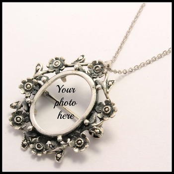 .925 Sterling Silver Pendant/Pin Photo Frame