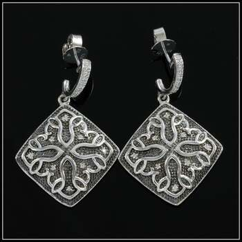 .925 Sterling Silver & White Gold Plated, 0.22ctw AAA Grade CZ's Earrings