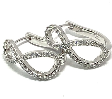 .925 Sterling Silver & White Gold Plated, 0.50ctw AAA Grade CZ's Hoop Earrings