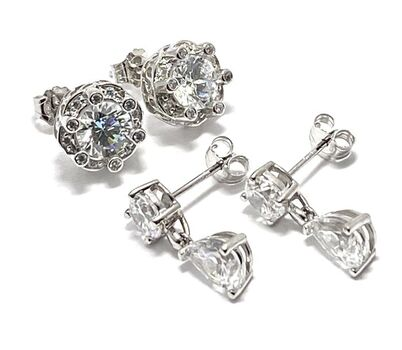 .925 Sterling Silver with White Topaz Lot of 2 Earrings