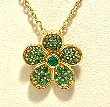 .925 Sterling Silver with Yellow Gold Overlay, 0.37ctw Emerald Necklace